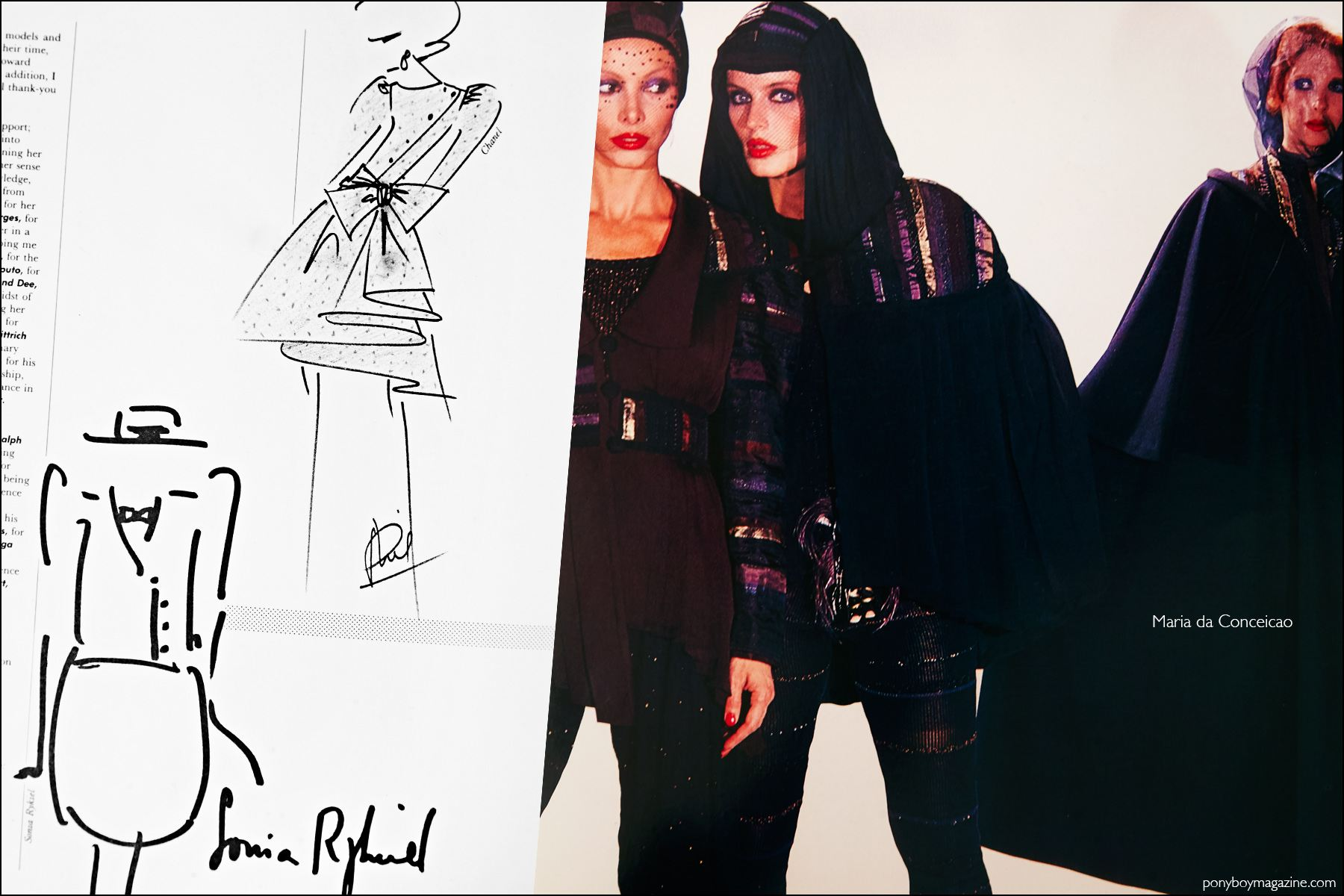 Fashion sketches by Sonia Rykiel and Chanel, featured in the book Fashion: 2001 by Lucille Khornak. Ponyboy magazine NY.