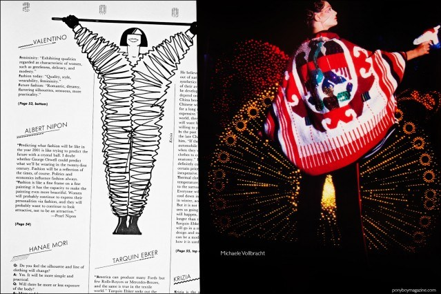 A fashion photograph of a Michaele Vollbracht design and Krizia fashion sketch, featured in the book Fashion: 2001 by Lucille Khornak. Ponyboy magazine.