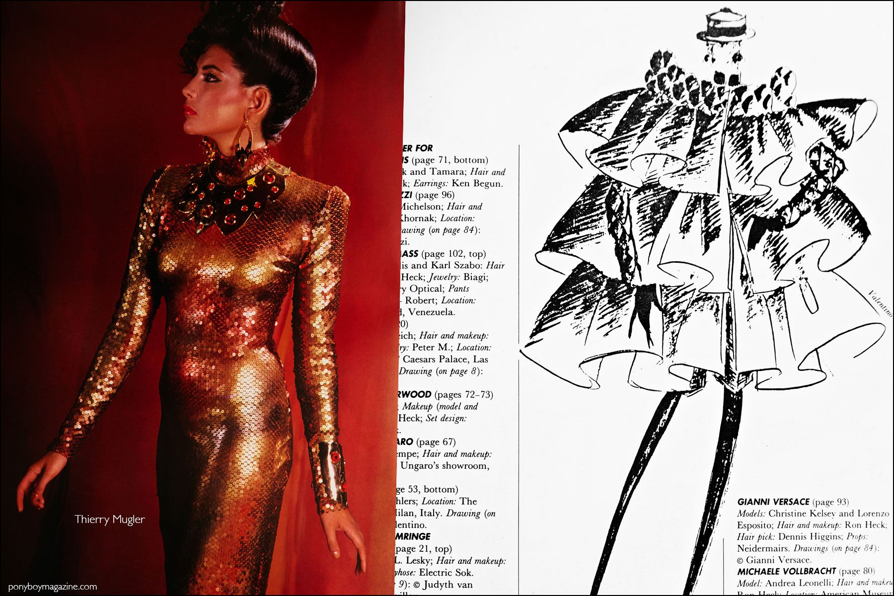 A Thierry Mugler design and Valentino sketch featured in the book Fashion: 2001 by Lucille Khornak. Ponyboy magazine NY.