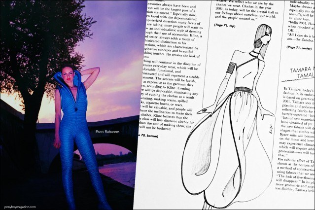 A design by Paco Rabanne and fashion sketch by Kasper, featured in the book Fashion: 2001 by Lucille Khornak. Ponyboy magazine.