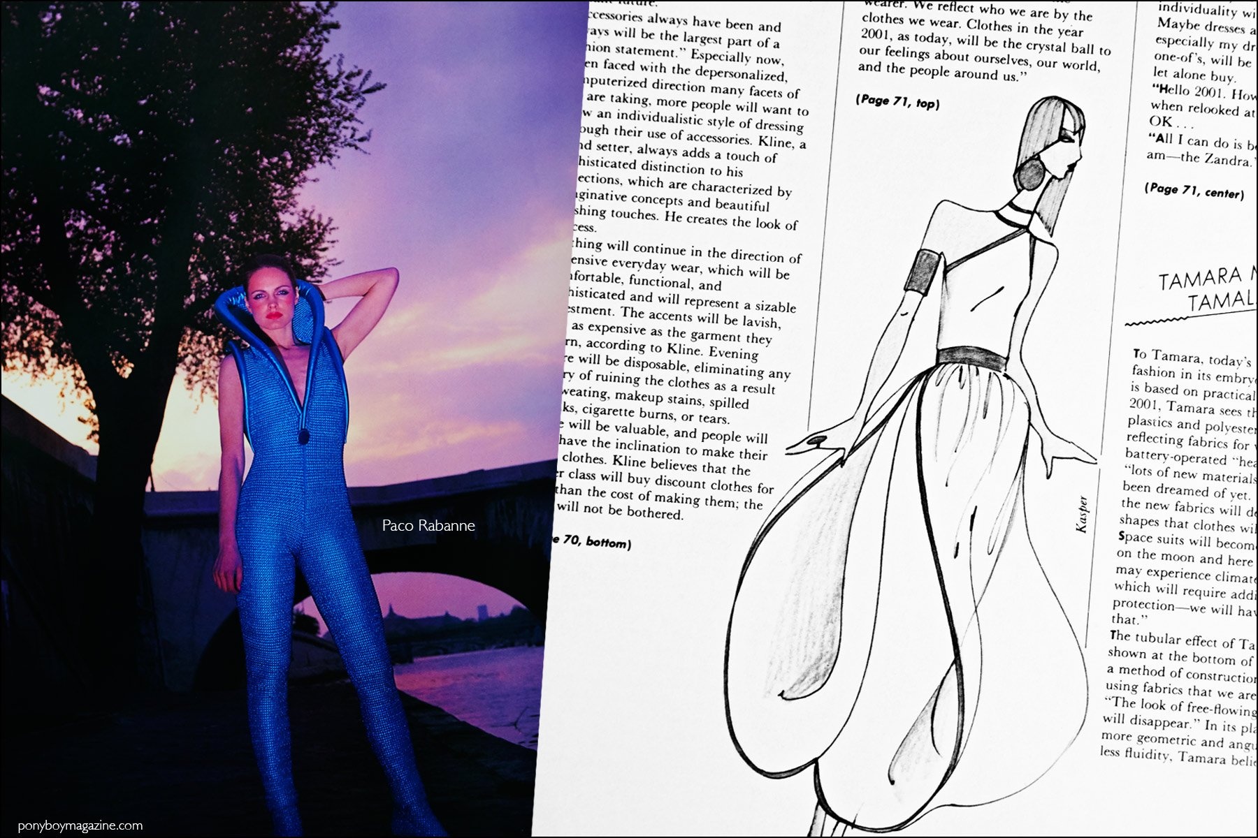 A design by Paco Rabanne and fashion sketch by Kasper, featured in the book Fashion: 2001 by Lucille Khornak. Ponyboy magazine NY.