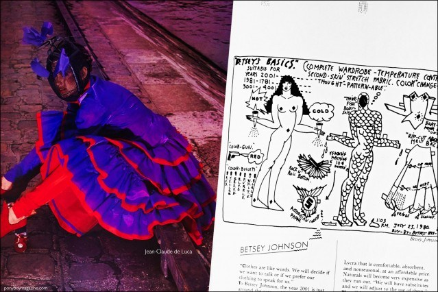 A fashion photograph featuring a design by Jean-Claude de Luca, as well as a fashion sketch by Betsey Johnson featured in the book Fashion: 2001 by Lucille Khornak. Ponyboy magazine.