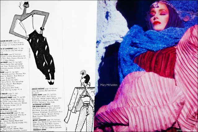 A fashion photograph featuring a design by Mary McFadden, featured in the book Fashion: 2001 by Lucille Khornak. Ponyboy magazine.