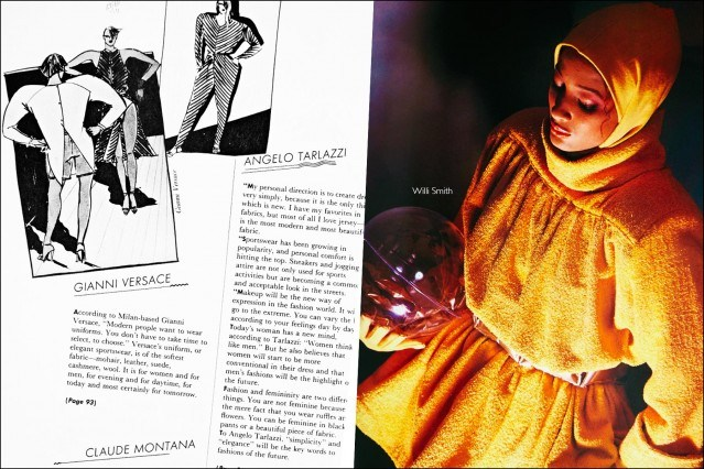 A fashion sketch by Gianni Versace and a fashion photo featuring a design by Willi Smith, featured in the book Fashion: 2001 by Lucille Khornak. Ponyboy magazine.
