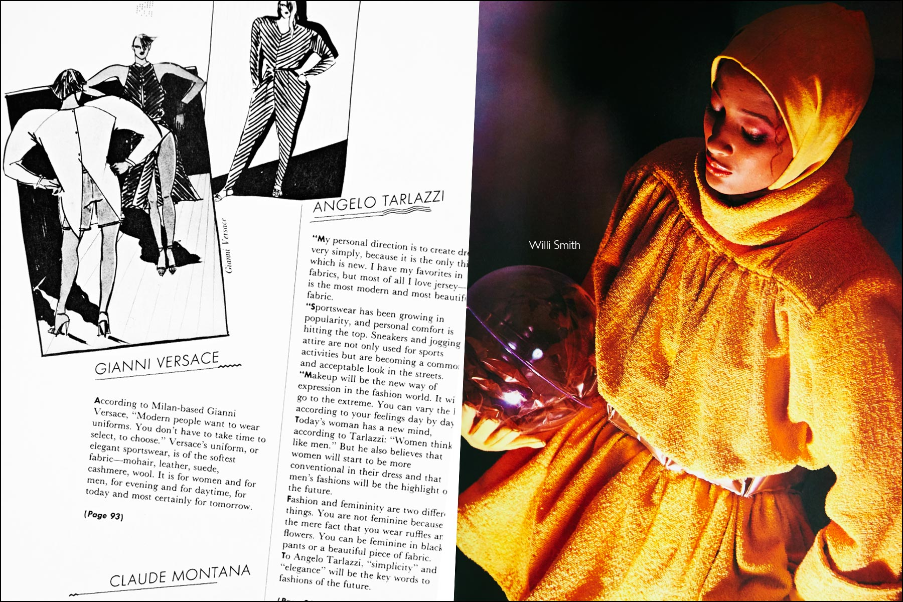 A fashion sketch by Gianni Versace and a fashion photo featuring a design by Willi Smith, featured in the book Fashion: 2001 by Lucille Khornak. Ponyboy magazine NY.