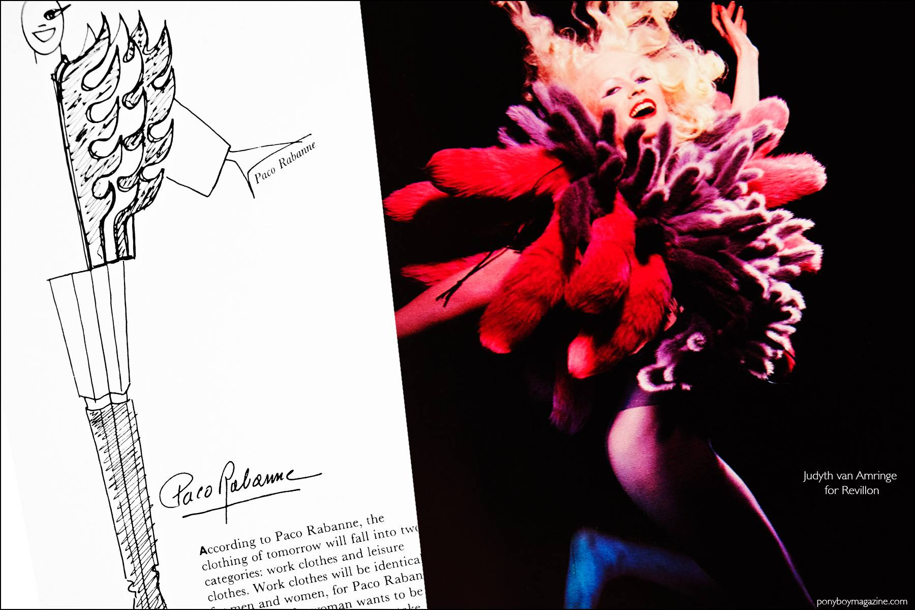 A fashion sketch by designer Paco Rabanne and a fashion photo by Lucille Khornak. Ponyboy magazine NY.