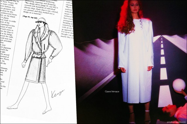 A fashion sketch by Kenzo, as well as a fashion photo featuring a Gianni Versace design, from the book Fashion: 2001 by Lucille Khornak. Ponyboy magazine.