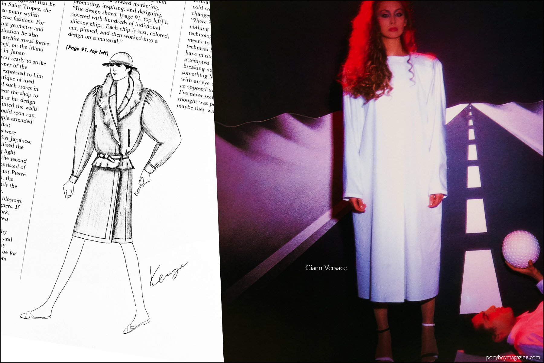 A fashion sketch by Kenzo, as well as a fashion photo featuring a Gianni Versace design, from the book Fashion: 2001 by Lucille Khornak. Ponyboy magazine NY.