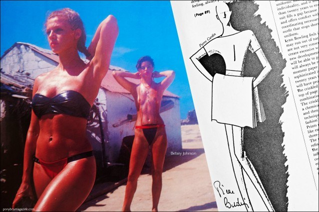 A fashion photo featuring Betsey Johnson designs, as well as a fashion sketch by Pierre Cardin, featured in the book Fashion: 2001 by Lucille Khornak. Ponyboy magazine.
