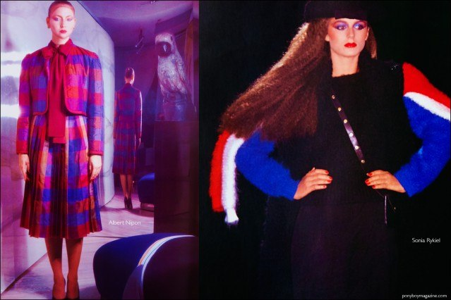 Fashion photography featuring the designs of Albert Nipon and Sonia Rykiel for the book Fashion: 2001 by Lucille Khornak. Ponyboy magazine.
