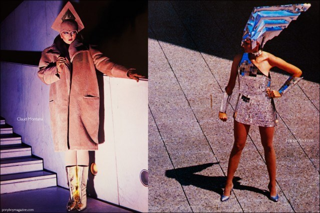 Futuristic fashions by Claud Montana and France Andrevie featured in the book Fashion: 2001 by Lucille Khornak. Ponyboy magazine.