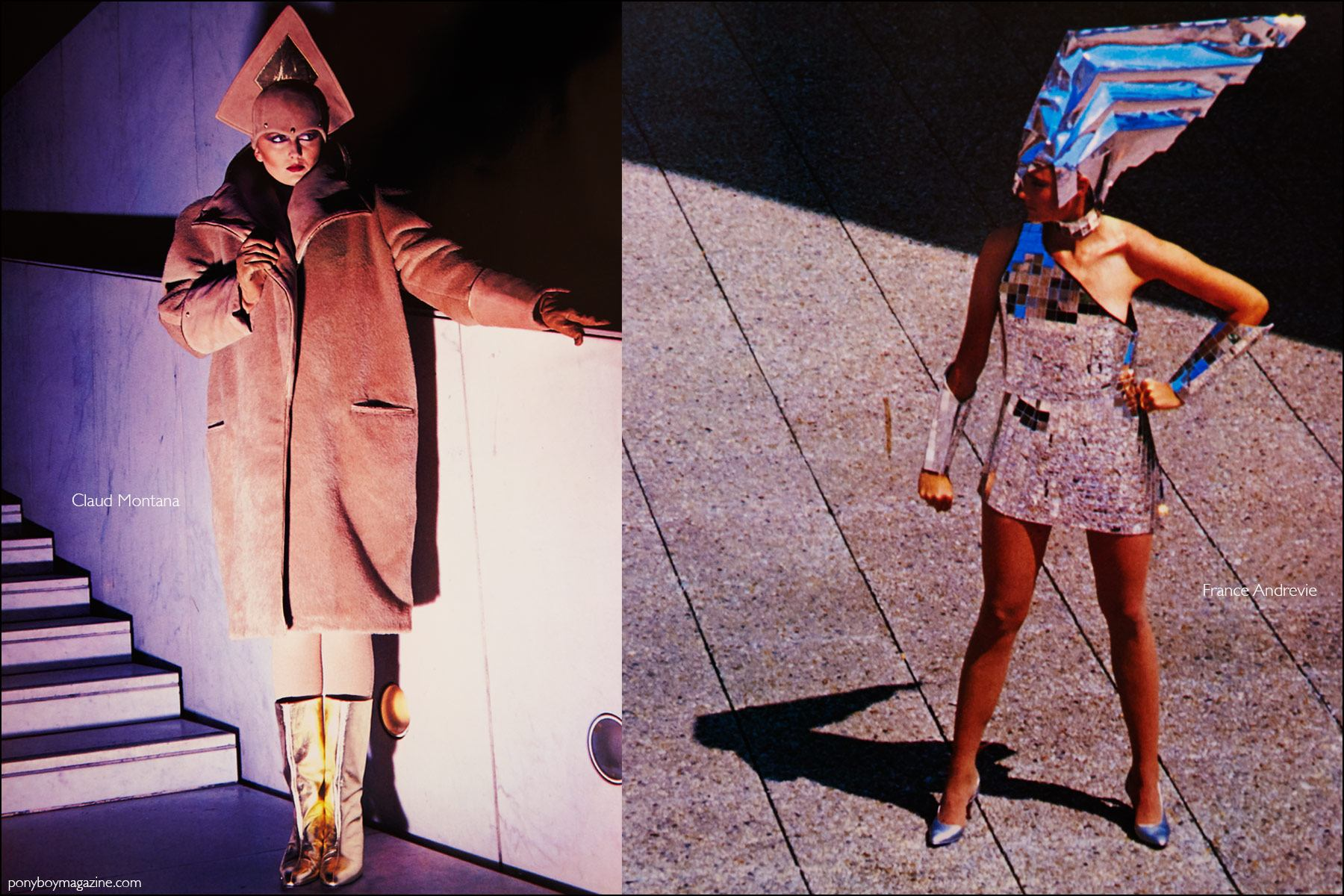 Futuristic fashions by Claud Montana and France Andrevie featured in the book Fashion: 2001 by Lucille Khornak. Ponyboy magazine NY.