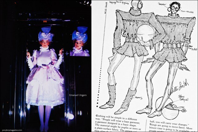 A futuristic design by Emanuel Ungaro, featured in the book Fashion: 2001 by Lucille Khornak. Ponyboy magazine.