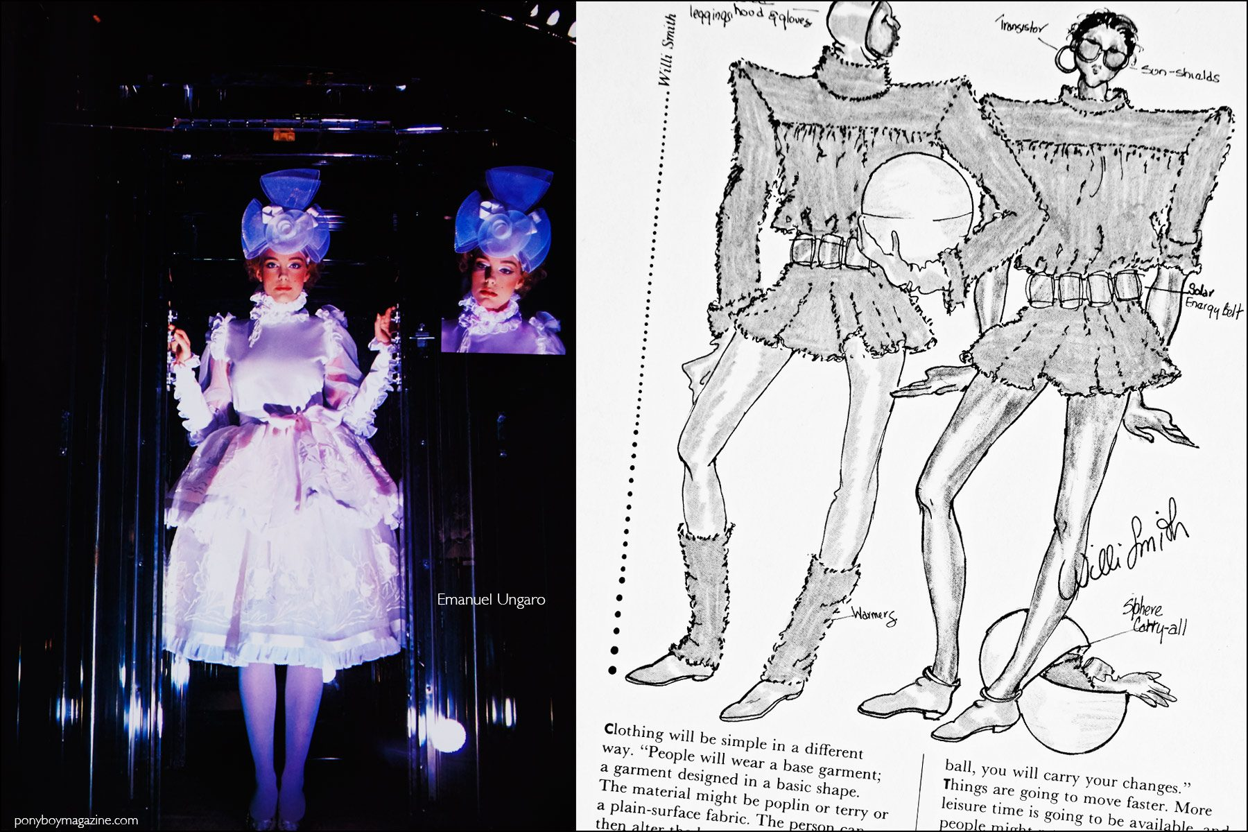A futuristic design by Emanuel Ungaro, featured in the book Fashion: 2001 by Lucille Khornak. Ponyboy magazine NY.