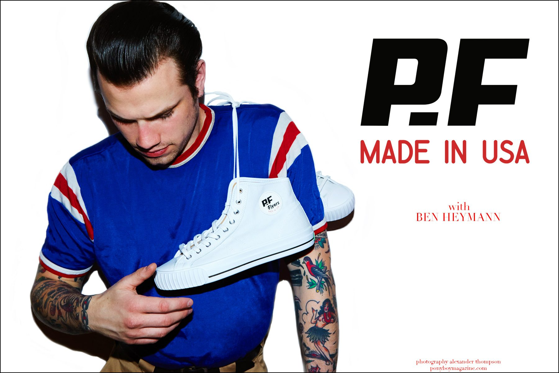 Rockabilly drummer Ben Heymann photographed in PF Flyers Made in USA line by Alexander Thompson for Ponyboy magazine NY.