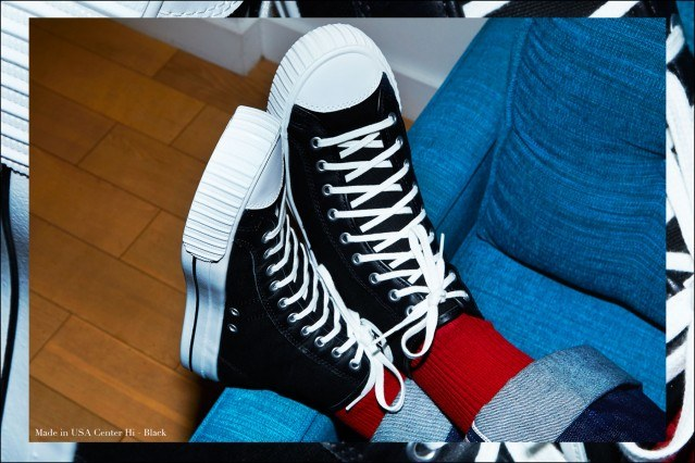 Close-up shot of Made in USA sneaker in black from PF Flyers, photographed by Alexander Thompson for Ponyboy magazine.