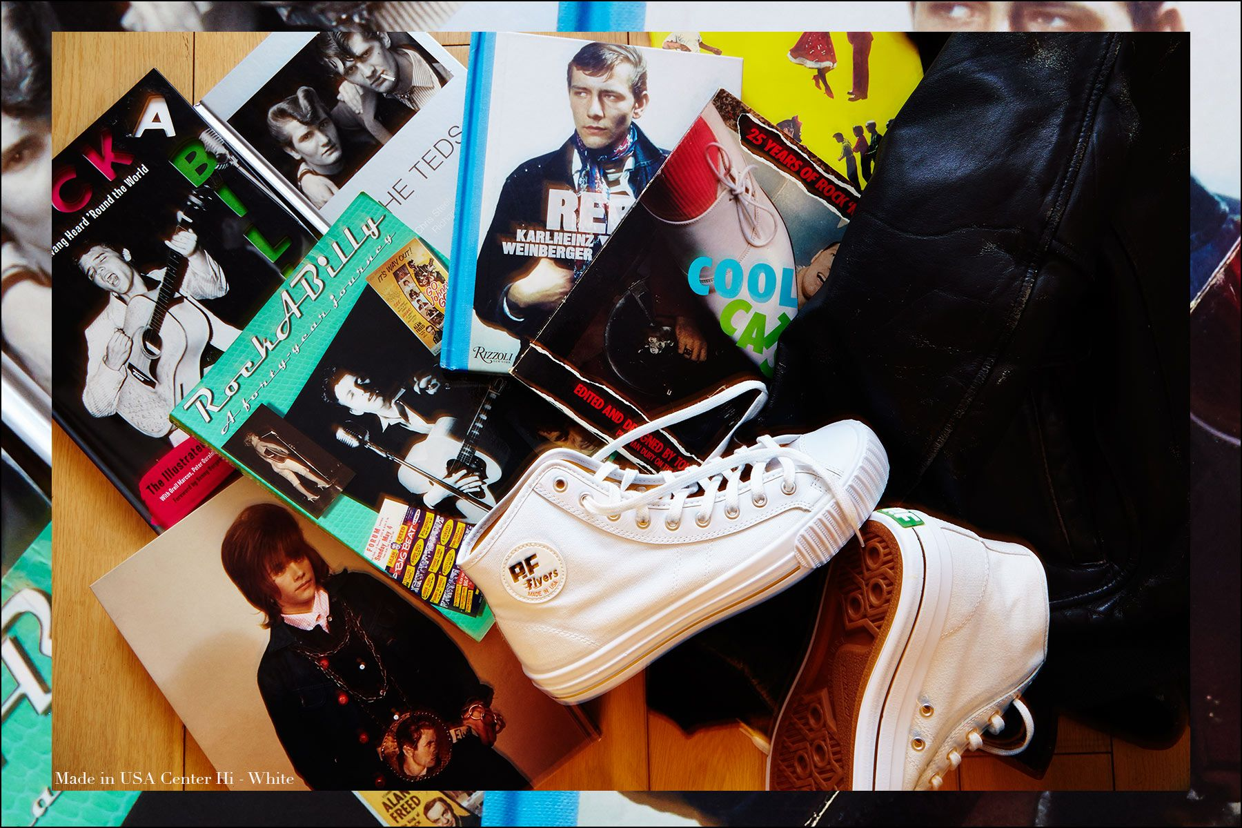 Made in USA Center Hi sneaker in white from PF Flyers. Photographed for Ponyboy magazine NY by Alexander Thompson.