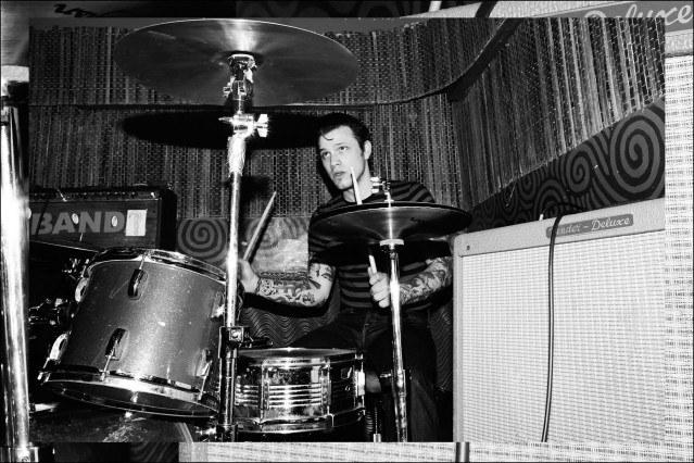 Rockabilly drummer Ben Heymann photographed at Otto's Shrunken Head by Alexander Thompson for Ponyboy magazine.