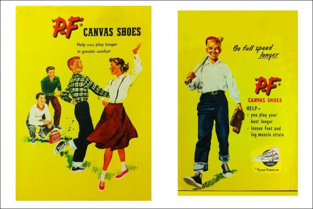 Vintage PF Flyers ads from the 1950s. Ponyboy magazine.