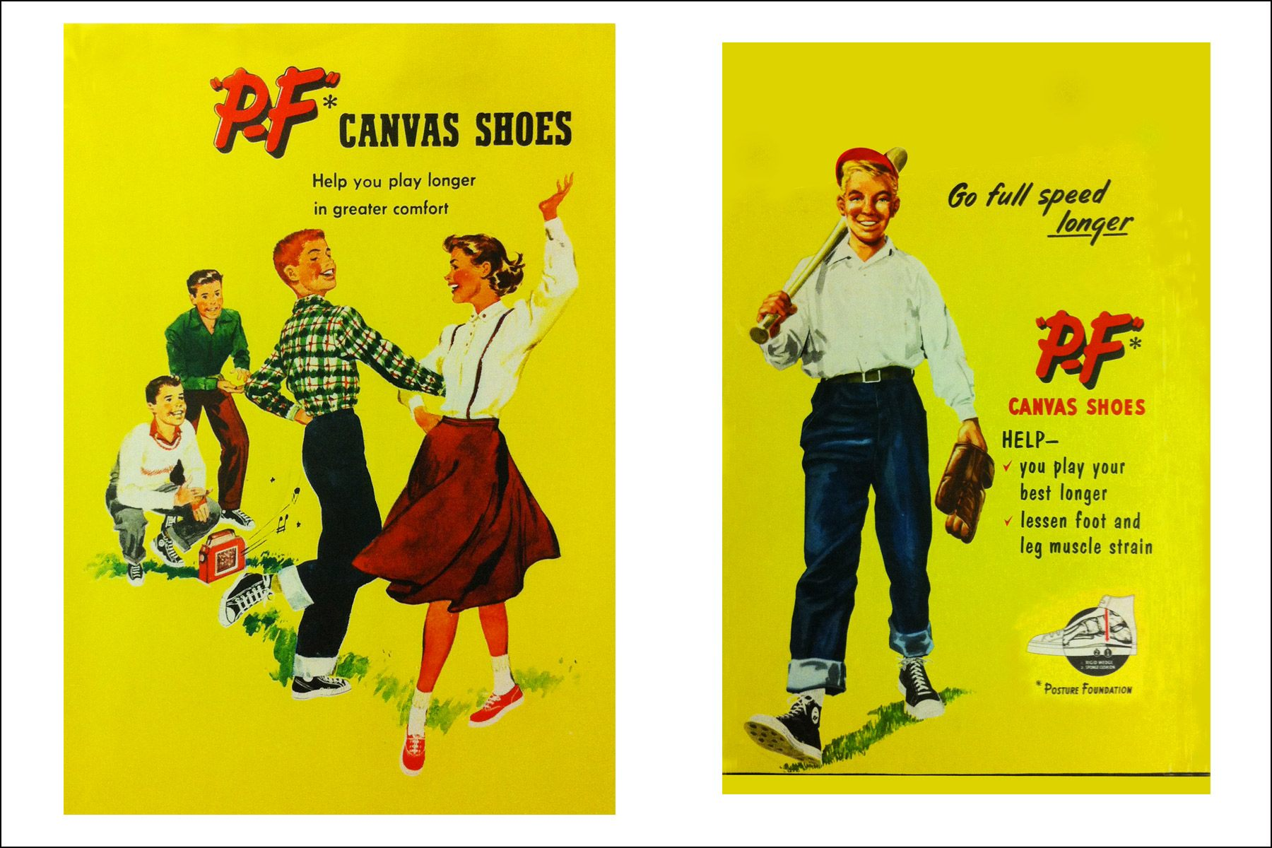 Vintage PF Flyers ads from the 1950s. Ponyboy magazine NY.