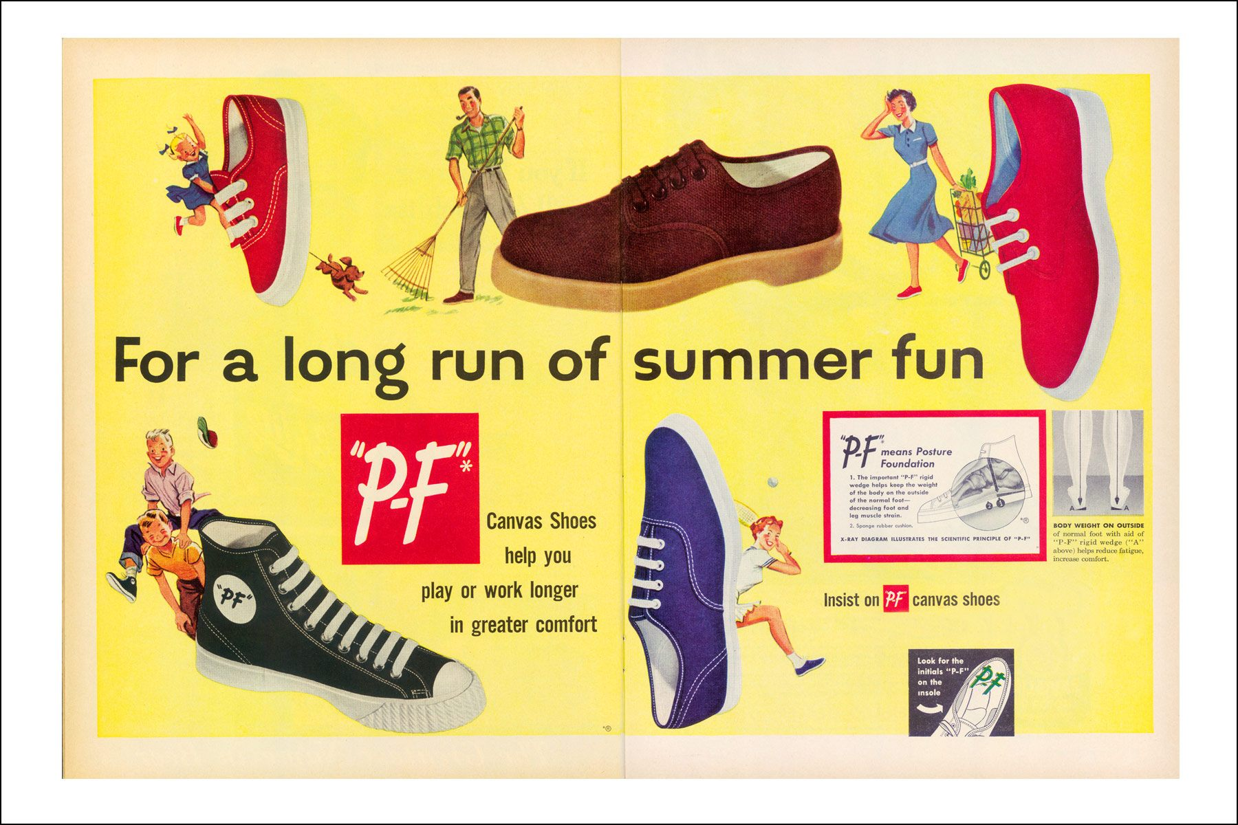 Vintage PF Flyers advertisements from the 1950s. Ponyboy magazine NY.
