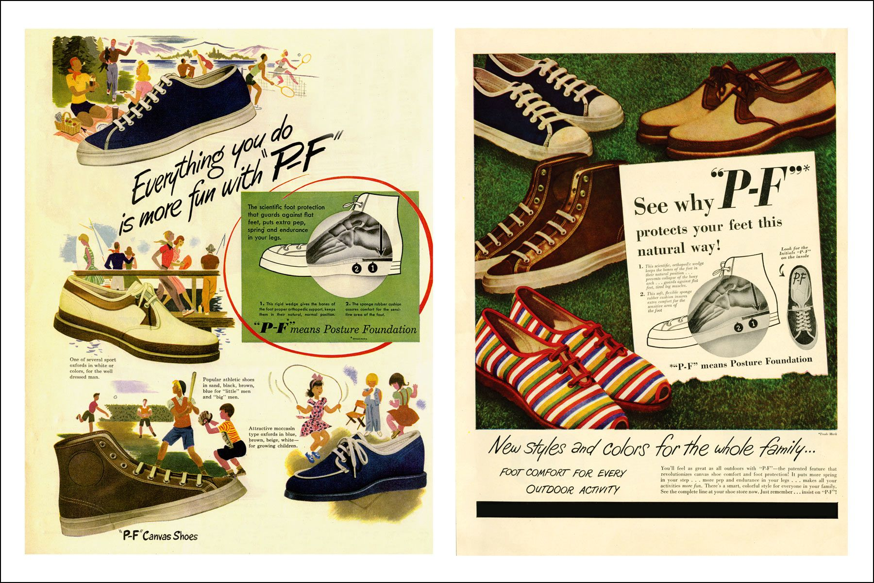 Vintage PF Flyers advertisements from the 50s. Ponyboy magazine NY.