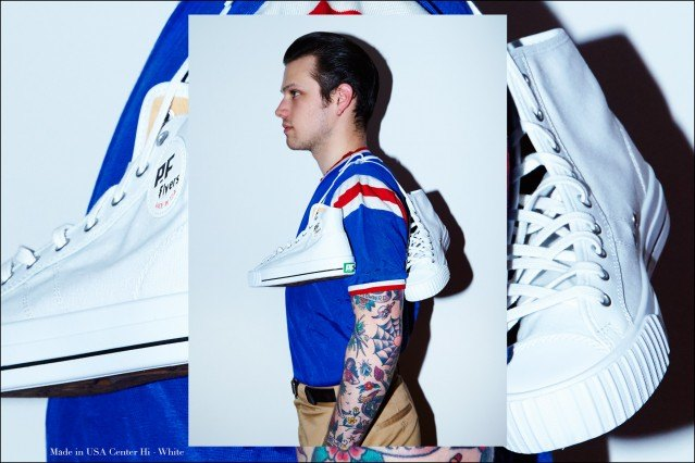 New York City rockabilly drummer Ben Heymann photographed in PF Flyers Made in USA line by Alexander Thompson for Ponyboy magazine.