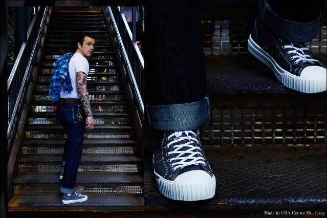 Drummer Ben Heymann photographed at the New York City subway in PF Flyers Made in USA sneakers.