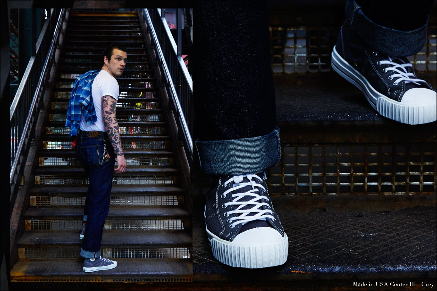 Drummer Rockabilly drummer Ben Heymann photographed at the New York City subway in PF Flyers Made in USA sneakers by Alexander Thompson for Ponyboy magazine.