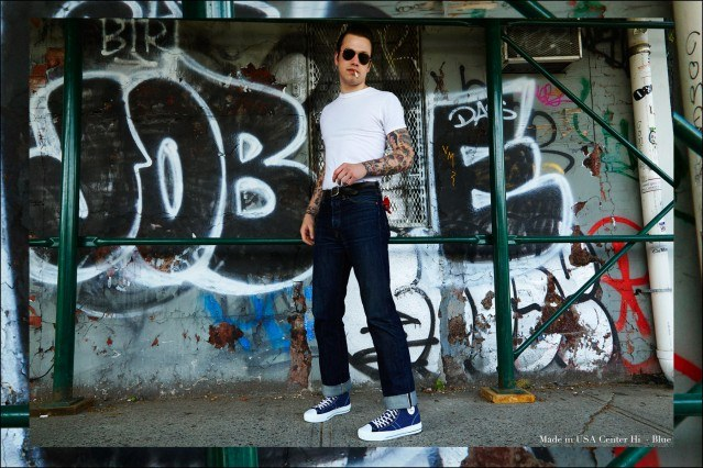 New York City drummer Ben Heymann wears the Made in USA Center Hi sneaker in blue. Photographed for Ponyboy magazine by Alexander Thompson.