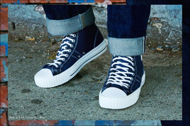 Close-up shot of Made in USA sneaker in blue from PF Flyers, photographed by Alexander Thompson for Ponyboy magazine.