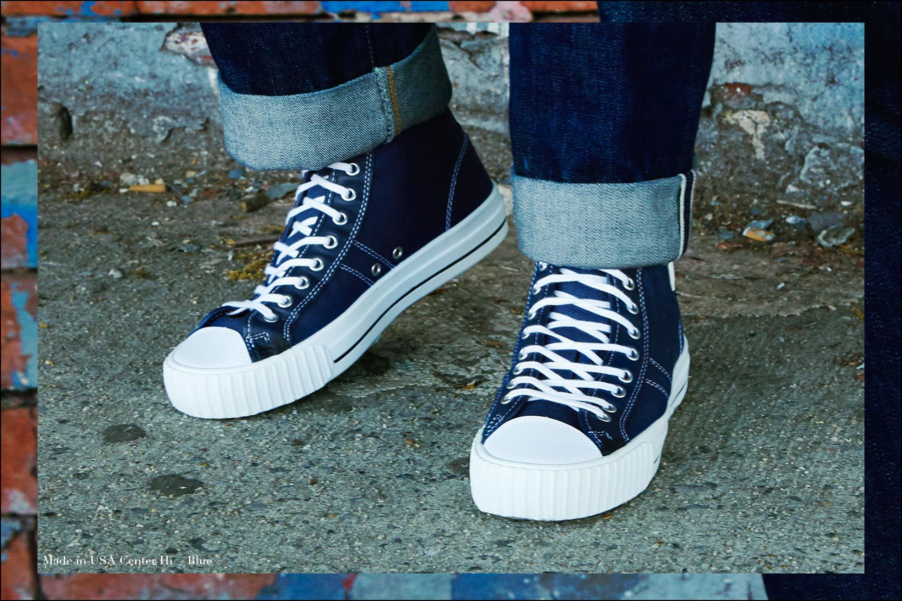 Close-up shot of Made in USA sneaker in blue from PF Flyers, photographed by Alexander Thompson for Ponyboy magazine NY.