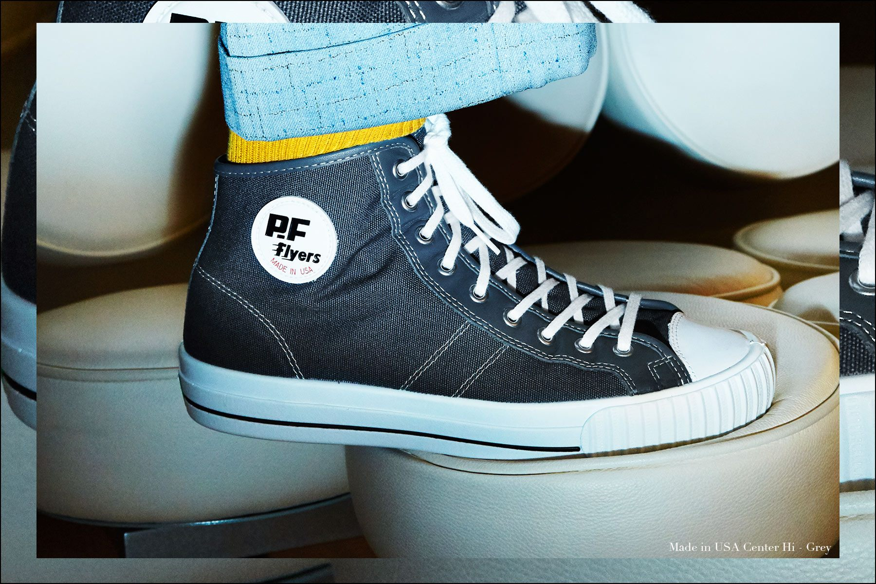 Close-up shot of Made in USA sneaker from PF Flyers, photographed by Alexander Thompson for Ponyboy magazine NY.