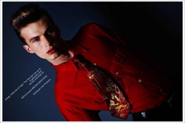 From New York Model Management, Zach Troost stars in Ponyboy magazine vintage tie editorial, photographed by Alexander Thompson, with styling by Antonio Abrego. Men's grooming by Michael Moreno.