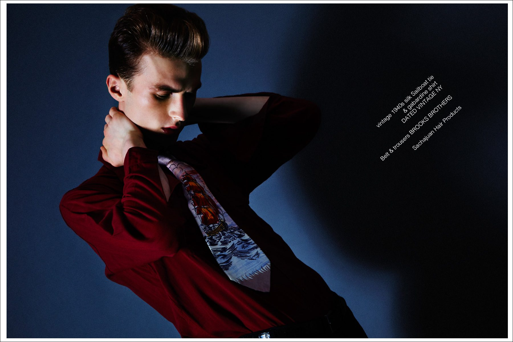 Model Zach Troost stars in Ponyboy magazine vintage menswear editorial, photographed by Alexander Thompson, with styling by Antonio Abrego for Dated Vintage NY.