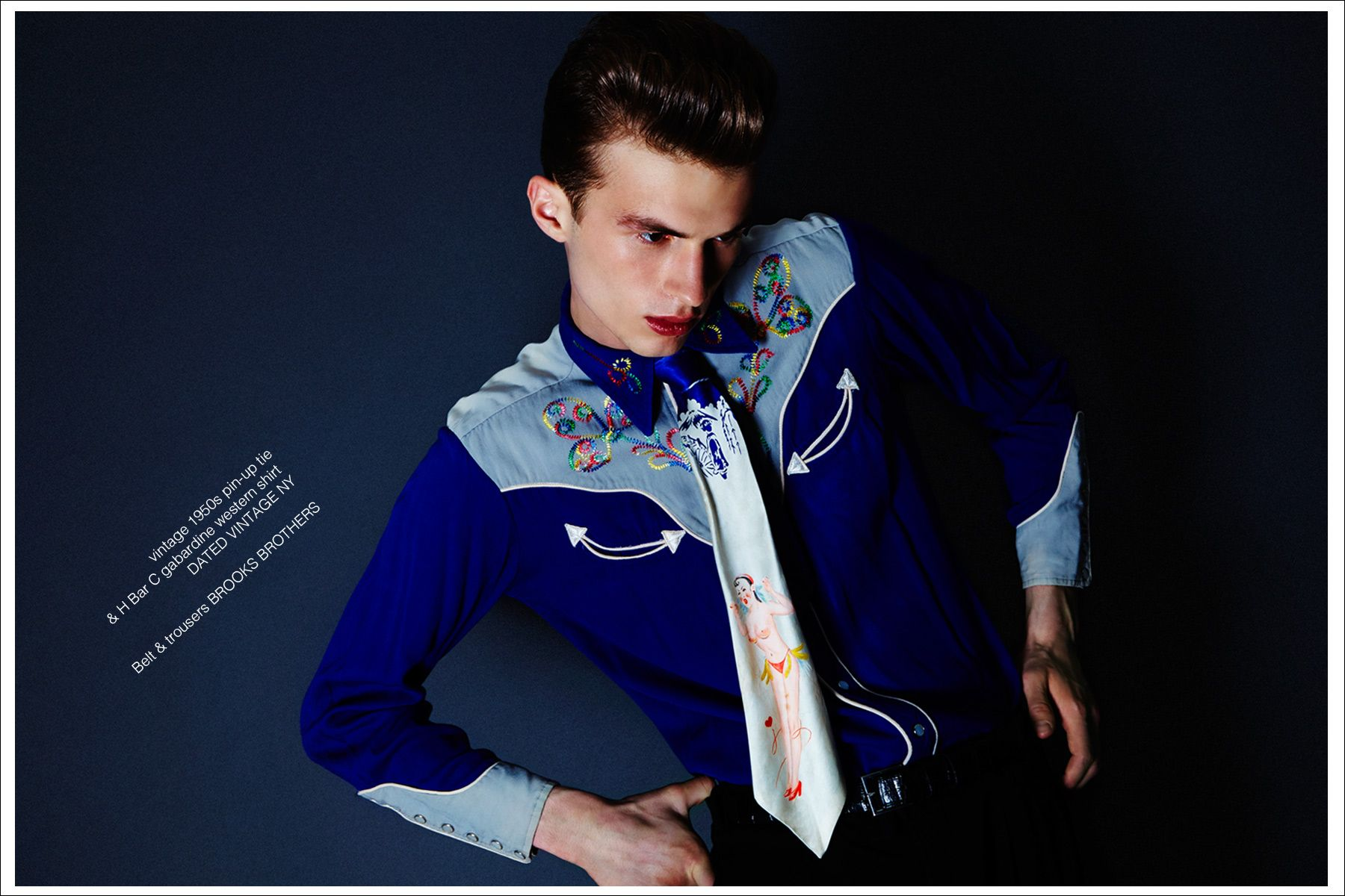 Zach Troost wears a vintage pin-up tie for Ponyboy magazine menswear editorial,