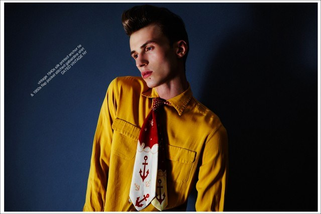 """Male model Zach Troost stars in Ponyboy magazine vintage menswear editorial, """"All Tied Up"""". Photographed by Alexander Thompson, stylist Antonio Abrego and men's grooming by Michael Moreno."""
