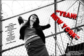 """Sarah McCall photographed for Ponyboy magazine editorial """"Yeah! New York"""", inspired by singer Karen O. Photography by Alexander Thompson, with styling by Xina Giatas."""