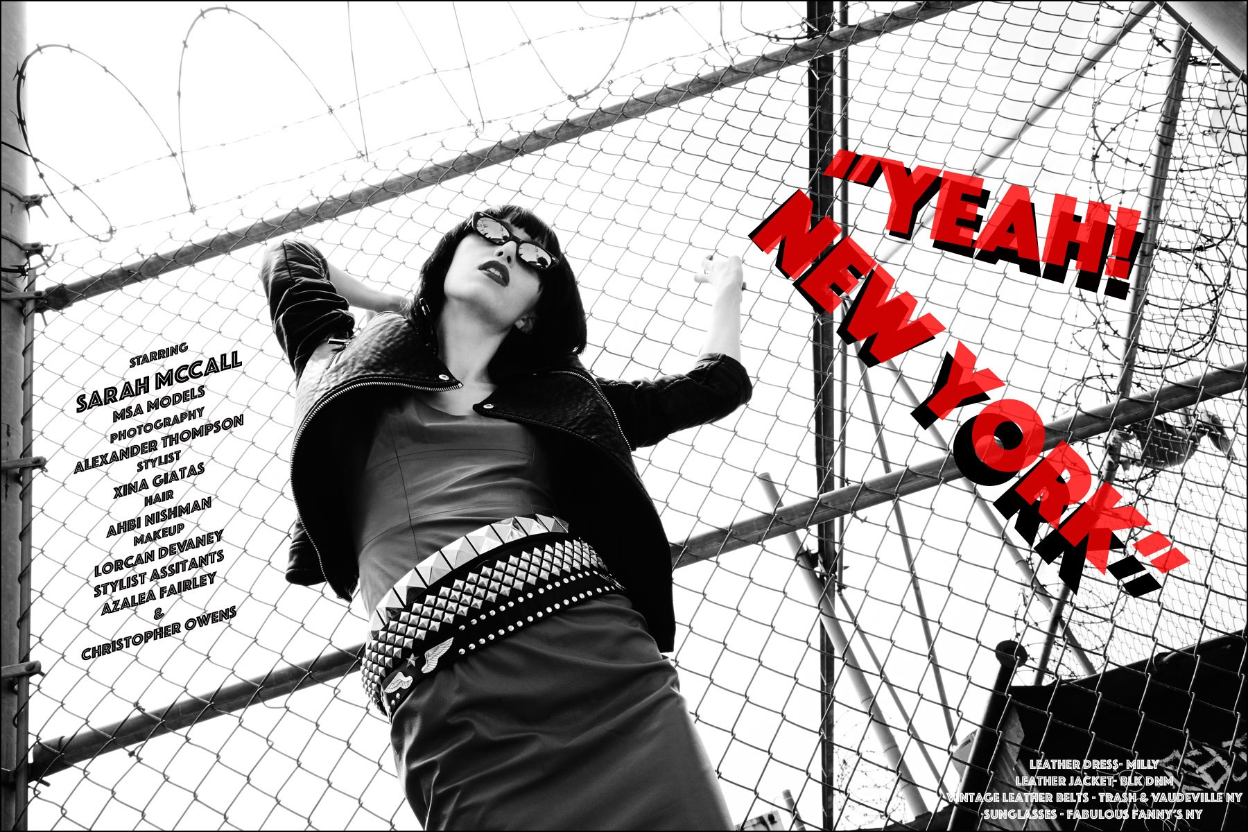 "Sarah McCall photographed for Ponyboy magazine editorial ""Yeah! New York"", inspired by singer Karen O. Photography by Alexander Thompson, with styling by Xina Giatas."