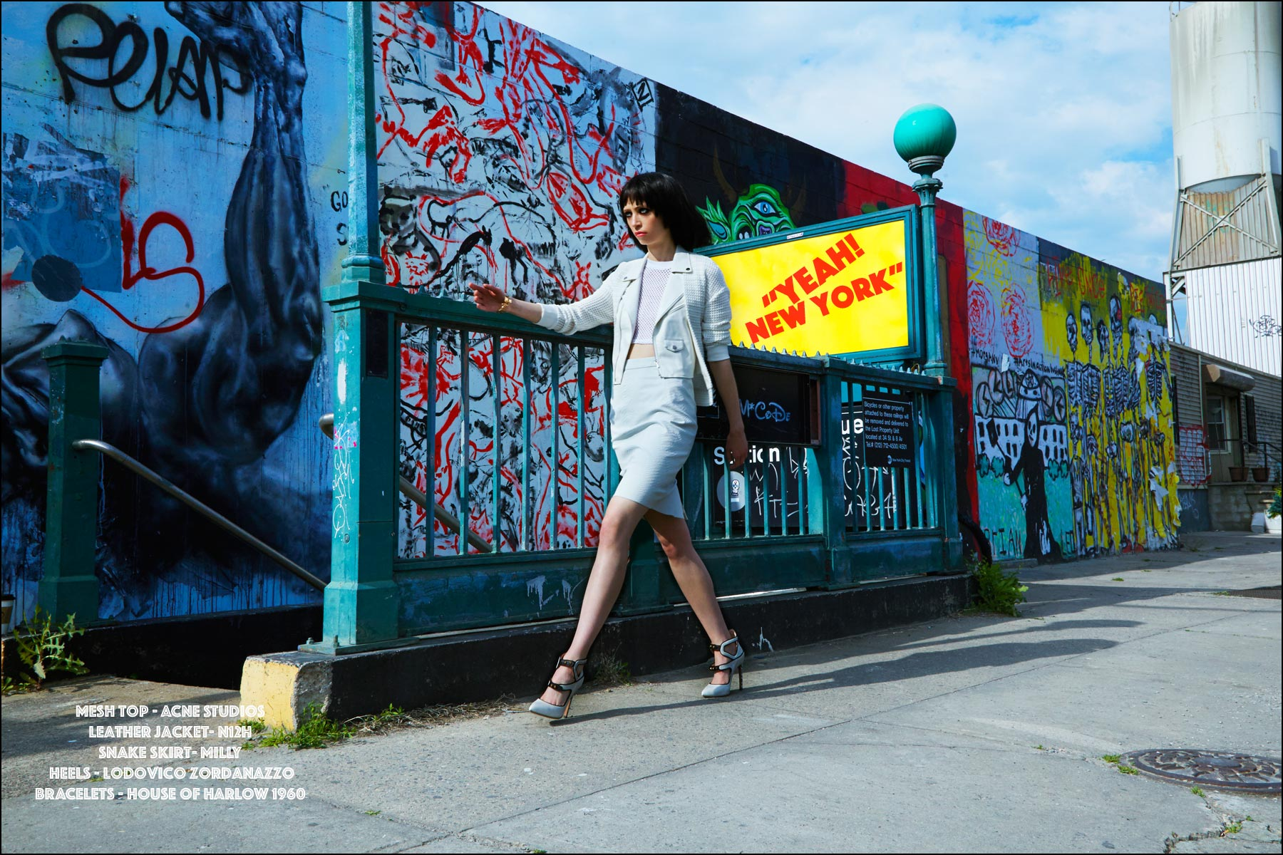Model Sarah McCall walks the streets of New York City for Ponyboy magazine womenswear editorial,