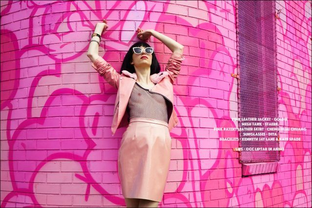"""Sarah McCall stars in a womenswear editorial """"Hello! New York"""", inspired by YYY's musician Karen O. Styled by Xina Giatas, and photographed by Alexander Thompson for Ponyboy magazine."""