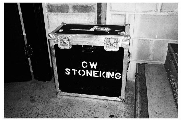 Photograph of C.W. Stoneking's equipment box, backstage at Rough Trade in Brooklyn. Photography by Alexander Thompson for Ponyboy magazine.