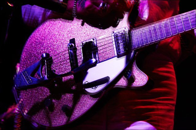 Detail shot of C.W. Stoneking's Gretsch guitar, photographed onstage by Alexander Thompson for Ponyboy magazine.