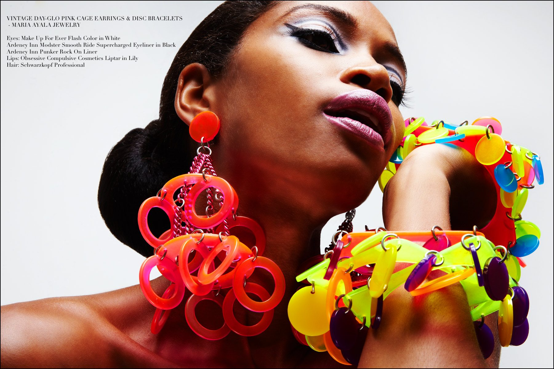 Bold and dramatic vintage plastic jewelry designed by Maria Ayala. Photographed by Alexander Thompson on model Christina Anderson-McDonald for Ponyboy magazine NY.