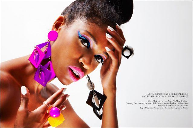 Model Christina Anderson-McDonald wears colorful vintage plastic jewelry designed by Maria Ayala. Photographed for Ponyboy magazine by Alexander Thompson.