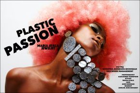 Plastic Passion, vintage Maria Ayala plastic jewelry, featured on model Christina Anderson-McDonald. Photographed by Alexander Thompson for Ponyboy magazine.