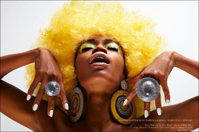 Glittery 60s inspired jewelry designed by Maria Ayala, modeled by Christina Anderson-McDonald. Photography for Ponyboy magazine by Alexander Thompson.
