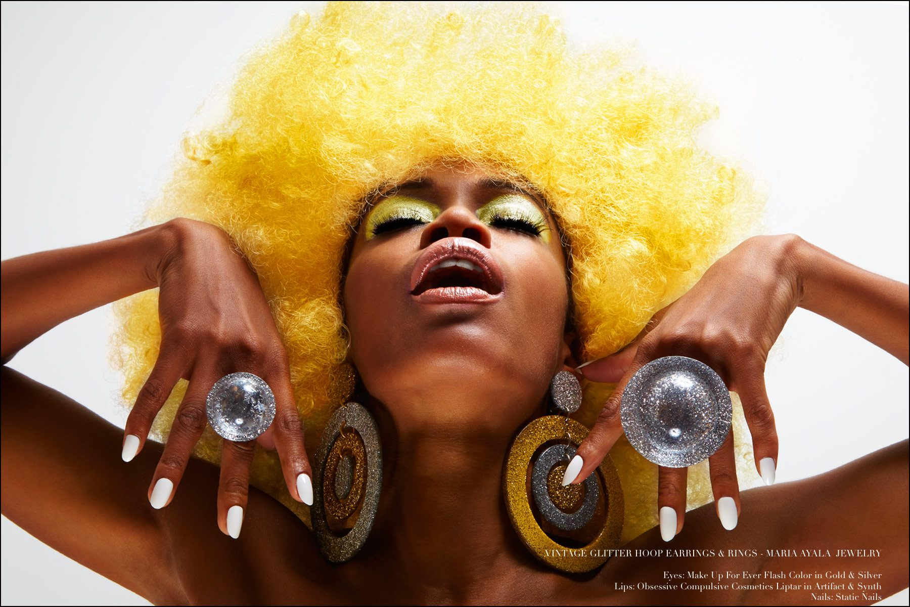 Glittery 60s inspired jewelry designed by Maria Ayala, modeled by Christina Anderson-McDonald. Photography for Ponyboy magazine NY by Alexander Thompson.