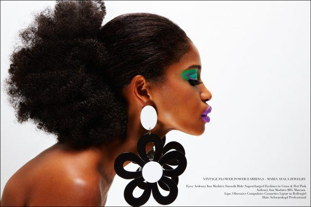Dramatic oversized flower earrings designed by Maria Ayala, featured on model Christina Anderson-McDonald. Photography by Alexander Thompson for Ponyboy magazine.
