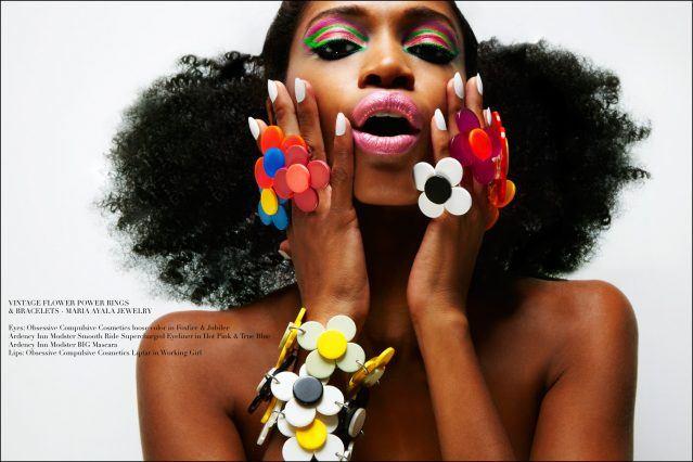 Model Christina Anderson-McDonald models vintage Maria Ayala lucite flower power jewelry. Photographed by Alexander Thompson for Ponyboy magazine.